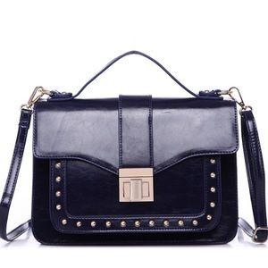 Handbags - Royal blue box shoulder bag with gold hardware